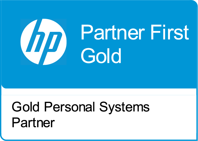 HP Partner First Gold, Gold Personal Systems Partner.